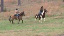 Roy Moore arrives at polling station on horseback