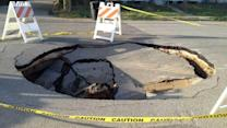 Sinkhole swallows chunk of NE Houston street
