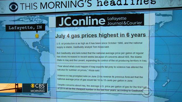 Headlines at 7:30: Iraq crisis sends gas prices sky-high