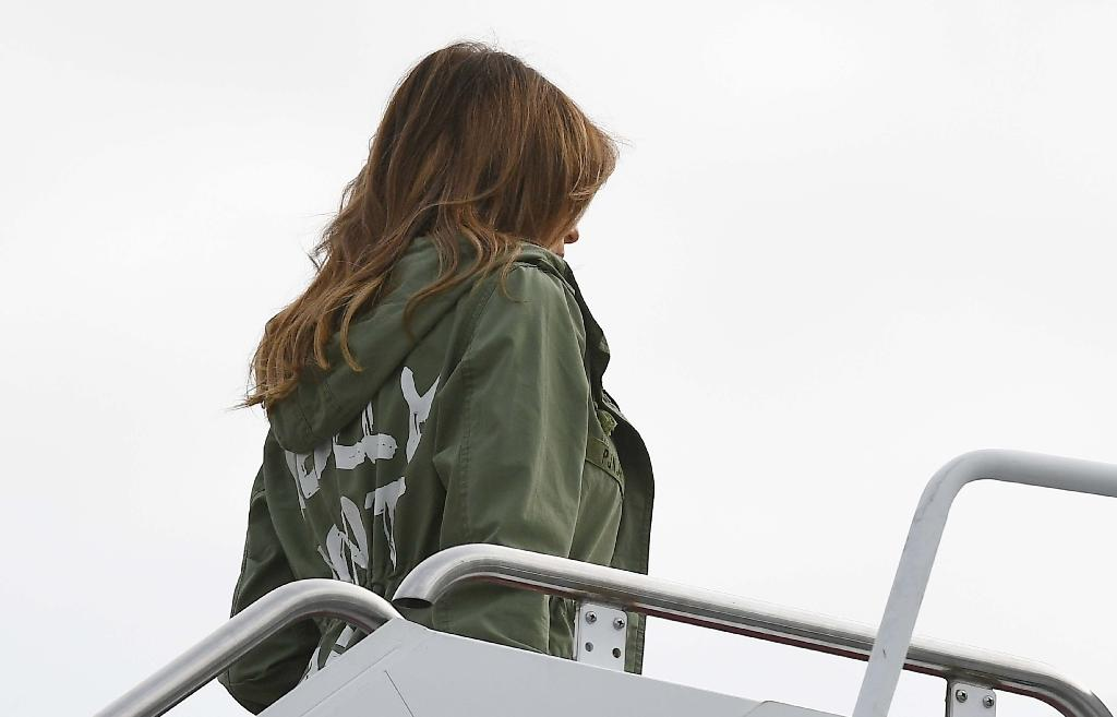 """When Trump visited children separated from their parents in Texas in June 2018, the back of her jacket bore these words scrawled in white: """"I really don't care. Do U?"""" (AFP Photo/Mandel Ngan)"""