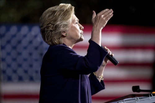 Democratic presidential candidate Hillary Clinton speaks at a rally at The Ohio State University in Columbus, Ohio, Monday, Oct. 10, 2016. (AP Photo/Andrew Harnik)
