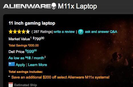 Alienware M11x starting at just $599, but not for long