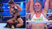 Rousey wins WrestleMania debut with signature MMA move