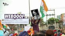 That's a Morphed Image of Navjot Sidhu Holding Indira Gandhi's Poster!