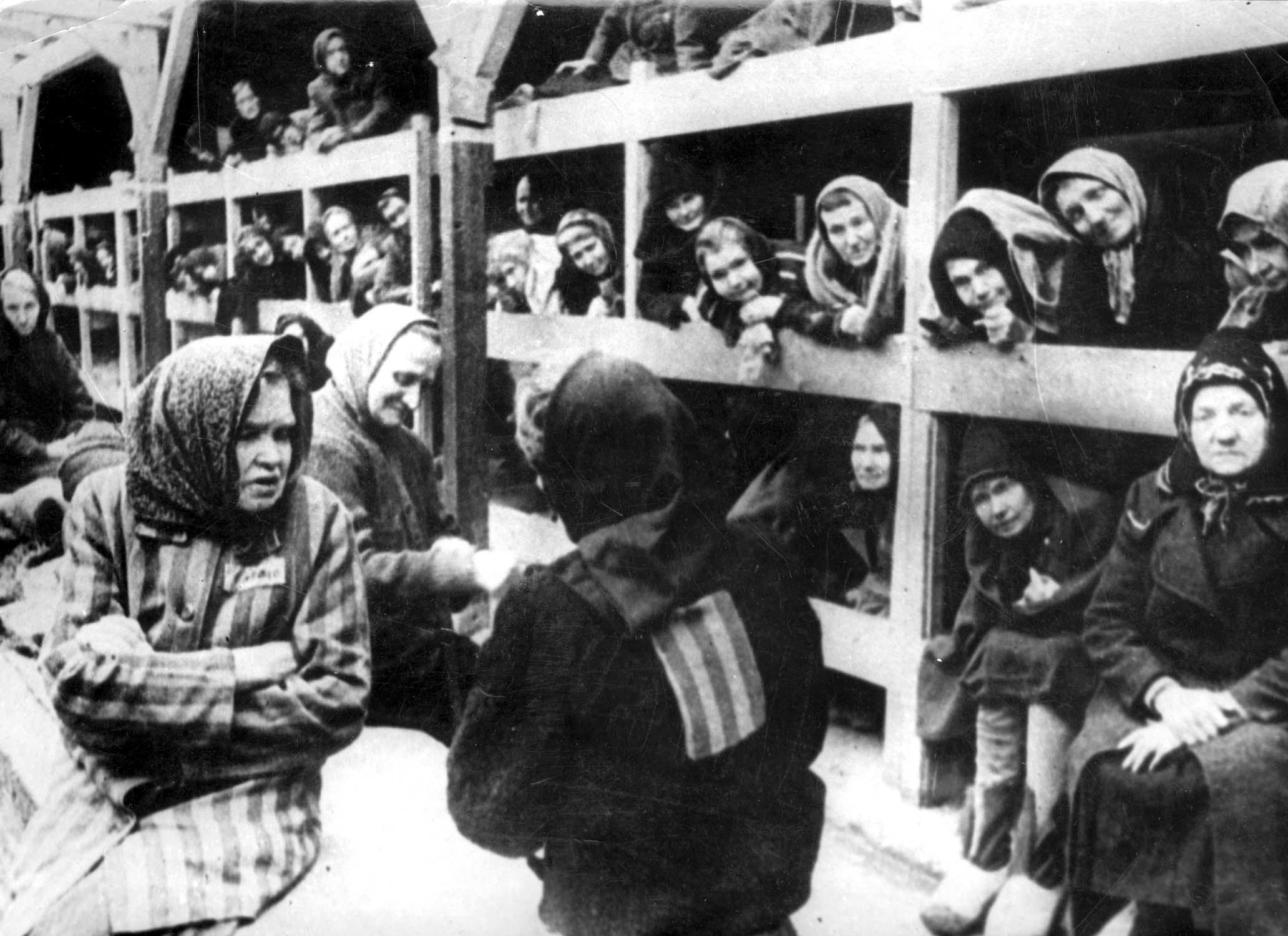 A photo taken in January 1945 shows the inside of a women's barrack at Auschwitz concentration camp after it was liberated by Soviet troops (AFP Photo/)
