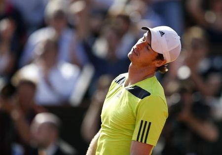 Andy Murray of Britain reacts during his men's semi-final match against Rafael Nadal of Spain at the French Open tennis tournament at the Roland Garros stadium in Paris