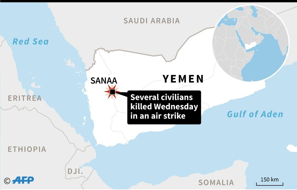 Map locating Sanaa, Yemen, where an air strike killed several civilians on Wednesday, witnesses and local media said. (AFP Photo/AFP)