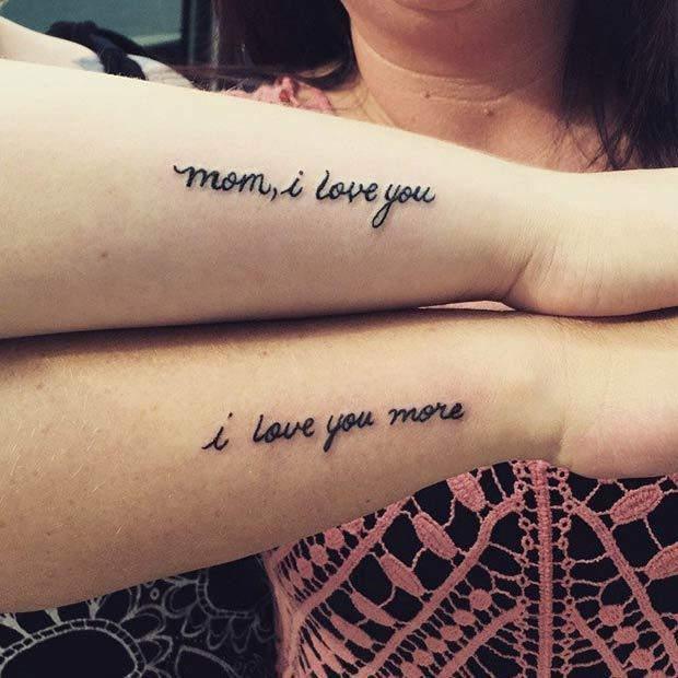 "<p>This simple, ""Mom, I love you"" and ""I love you more"" is the truest expression there is. (<i>Photo: <a href=""http://stayglam.com/life/66-amazing-mother-daughter-tattoos/"" rel=""nofollow noopener"" target=""_blank"" data-ylk=""slk:Stayglam.com"" class=""link rapid-noclick-resp"">Stayglam.com</a>)</i></p>"
