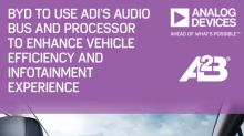 BYD Selects Analog Devices' Audio Bus and Processor Technologies to Improve Vehicle Energy Efficiency and Enhance Infotainment Experience