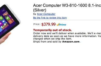 Unannounced Acer Iconia W3 8-inch tablet leaks on Amazon, priced at $380