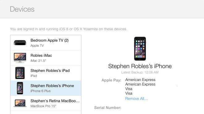 How to remove Apple Pay credit cards remotely from iCloud com