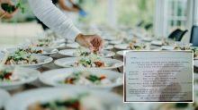 'Tacky and horrific': Invitation slammed for dinner tiering system