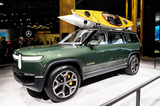 Rivian R1S seen at the New York International Auto Show at...