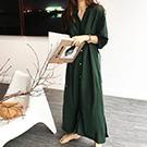韓系 皺褶領襯衫式連身裙