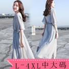 XL-5XL中大尺碼雪紡長裙洋裝