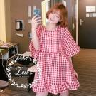 夏季甜美格紋寬鬆洋裝