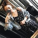 韓版中長v領碎花雪紡連衣裙