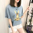 韓版卡通兔子印花短袖上衣