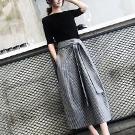 純色短T+綁帶條紋長裙