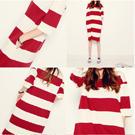 韓系條紋長版T連身裙