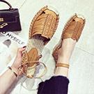 韓國真皮編織涼鞋
