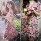 ❀韓國祕密花園粉色花朵洋裝