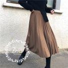 秋裝氣質高腰百摺長裙