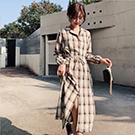 復古連衣裙中長款格子襯衫裙子