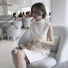 韓版蜜蜂刺繡無袖氣質連衣裙