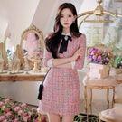韓國浪漫小香風粗花呢洋裝