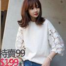 韓版純棉圓領蕾絲袖上衣