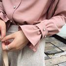 ❀韓國別緻珍珠扣花苞袖襯衫