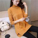 韓版針織中長款高領毛衣
