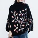 日系高領刺繡花毛衣