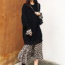 韓系 豹紋拼接假兩件連身裙