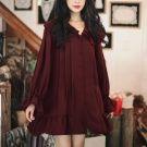 韓國荷葉邊單排扣甜美裙擺洋裝