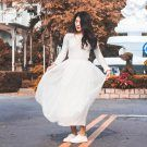 春裝甜美高腰顯瘦百摺紗裙