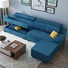 椅墊下可收納超方便 特倫斯L型獨立筒布沙發