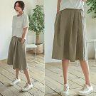 正韓 口袋設計打褶及膝裙