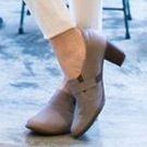 自然感手染臘皮粗跟鞋