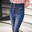 韓版排扣高腰顯瘦牛仔褲