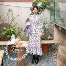 秋冬小氣質甜美碎花洋裝