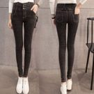 韓版加厚高腰顯瘦小腳牛仔褲