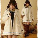 日系森女系連帽海軍風毛呢外套