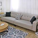 耐抓布紋皮質四人+凳 貓抓皮L型沙發 A12】品歐家具