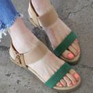 正韓寬撞色楔型涼鞋
