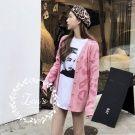 秋裝潮流粉紅豹紋針織外套