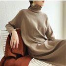 高領寬鬆中長款針織連身裙