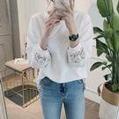 正韓 簍空花朵蕾絲袖圓領棉質上衣