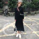 韓國秋裝復古兩件套針織洋裝